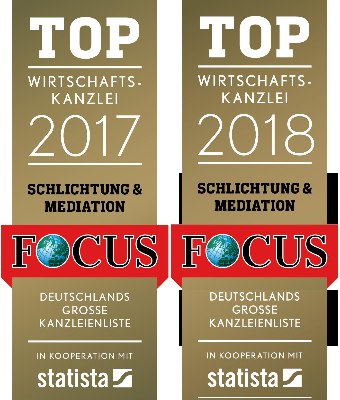 FCS TOP Wirtschaftskanzlei 2017 und 2018 Schlichtung und Mediation - mehr Informationen